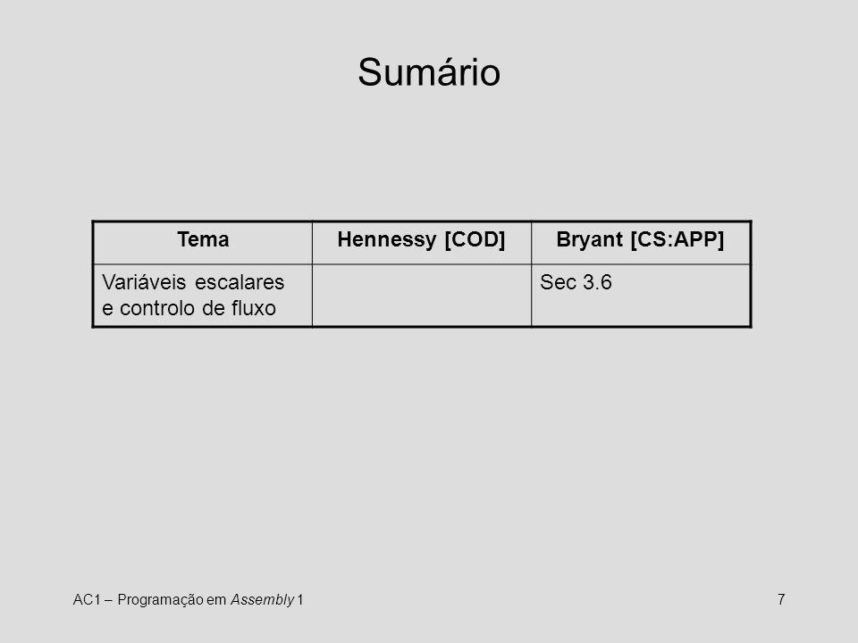 Sumário Tema Hennessy [COD] Bryant [CS:APP]